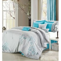 Space Living 12 -Piece Henley Grey/Blue Bed In A Bag Set Bed in a Bag Sets