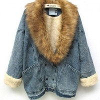 Loose Denim Shearling Coat with Detachable Faux Fur Collar