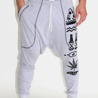 Hieroglyph Drop Crotch Sweatpant- Grey