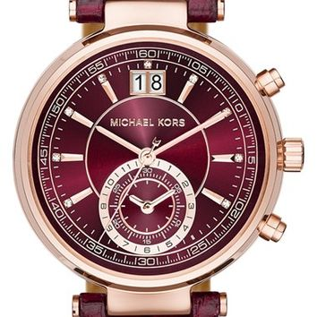 Women's MICHAEL Michael Kors 'Sawyer' Leather Strap Watch, 39mm - Merlot/ Rose Gold
