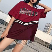 Adidas Summer Popular Casual Print Joining Together Short Sleeve T-Shirt Pullover Top I-AG-CLWM
