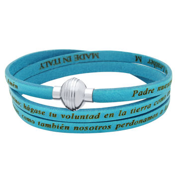 ZDW1002-TRQ  TURQUOISE PADRE NUESTRO (LORD'S PRAYER) ENGRAVED LEATHER WRAP BRACELET