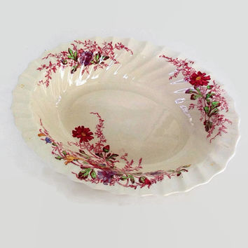 "Vintage Spode China- Oval Vegetable Dish-Ferry Dell Pattern-10""-Made in England-Multicolor Floral Sprays-Swirl Rim-Replacement China"