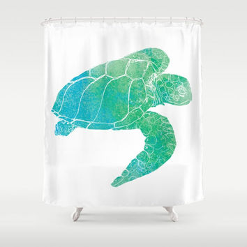Sea Turtle Shower Curtain - Kemp's Ridley - Watercolor Art, blue green Sea Turtle, Surf, beach, Bold graphic sea turtle, coastal bathroom