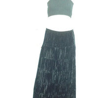 Velvet Black Broomstick Tiered Gypsy Hippie Goth  Rayon Velvet Boho Maxi Skirt Vintage Black Skirt s small m medium  26-32 waist