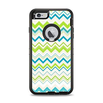 The Green & Blue Leveled Chevron Pattern Apple iPhone 6 Plus Otterbox Defender Case Skin Set