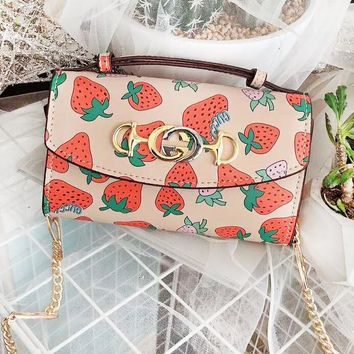 GUCCI high quality new fashion strawberry print shoulder bag women