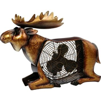 Moose Figurine Table Fan