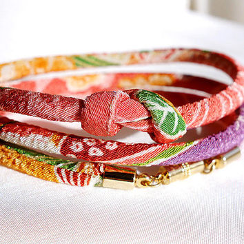 Kimono Bracelet, Necklace, Japanese chirimen jewelry, Orange lilac moss green Coral pink - HANA MORI -