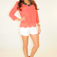 Simply Scalloped Top: Coral