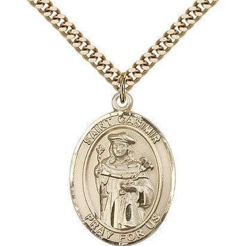 "Saint Casimir Of Poland Medal For Men - Gold Filled Necklace On 24"" Chain - 3... 617759400090"
