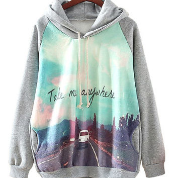 Grey Take Me Anywhere Print Hoodie Jacket