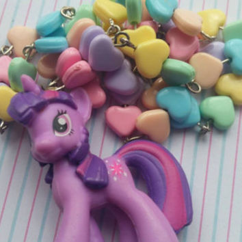 Twilight sparkle. Silver plated kawaii necklace. Puffy hearts. Pastel beads. Cute.