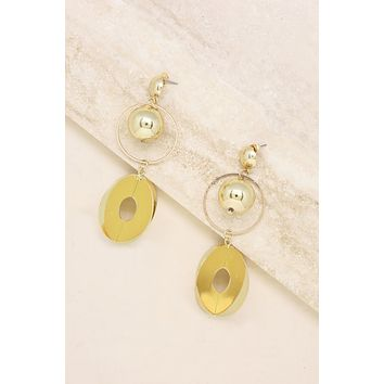 Three Dimensional Ball and Hoop Earrings in Gold
