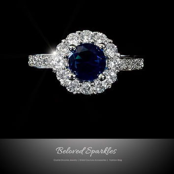 Marisa Sapphire Blue Halo Engagement Cocktail Ring | 2.5 Carat | Cubic Zirconia