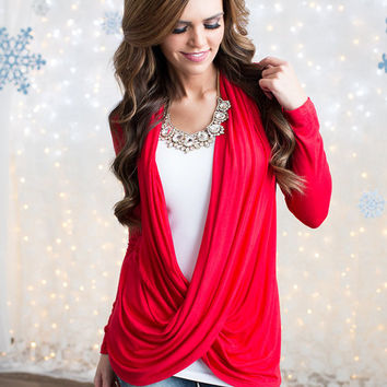 Greatly Designed Draping Top Red