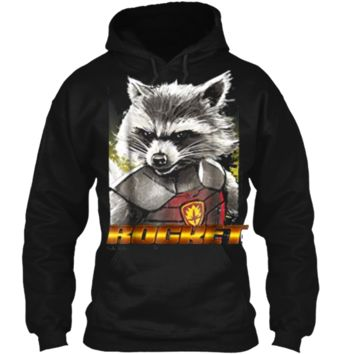 Marvel Rocket Guardians of the Galaxy Glare Graphic  Pullover Hoodie 8 oz
