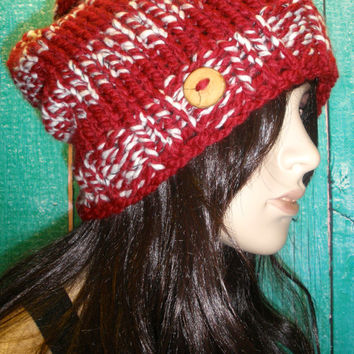 Slouchy Beanie Hat Winter Hand Knit Dark Red & White Striped Woodsy With A Wood Button