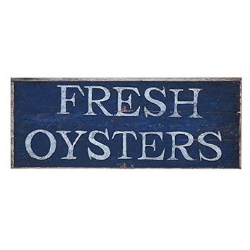 Fresh Oysters - Large Seafood Market Sign - Beach Coastal Marine Fishing - 30-in