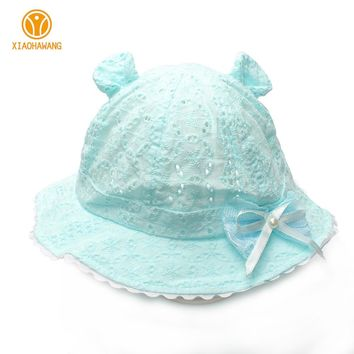 Hollow Baby Girls Hats Solid Cotton Baby Hat With Bow Summer Cute Princess Beanies 2017 Ears Infant Bucket Cap Baby Accessories