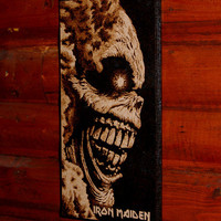 Iron Maiden - woodburned home decoration