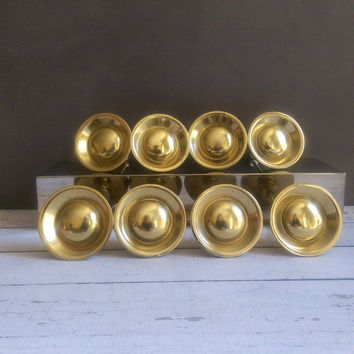 Antique Brass Knobs/ Vintage Brass Cabinet Pulls/ Large Brass Knobs/ Round Brass Pulls/ Set of Brass Knobs/ Gold Tone Knobs