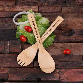 Personalized Bamboo Salad Utensils and Bowl