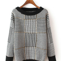 Plaid Long-Sleeve Houndstooth Thick Knit Sweater
