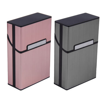 2016 Hot Sale 1pcs Light Aluminum Cigar Cigarette Case Tobacco Holder Pocket Box Storage Container 2 Colors
