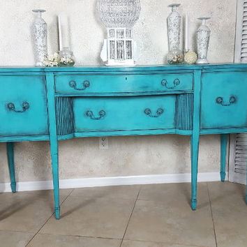 Vintage Buffet, Mid Century Sideboard, Hand Painted and Distressed in Layers of Turquoise Blue/Aquamarine/Teal Over Graphite French Counrty