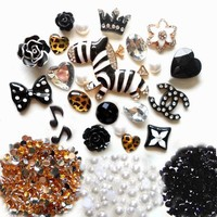 LOVEKITTY TM DIY 3D Rhinestones Zebra Bling Cell Phone Case Resin Cabochons Deco Kit / Set