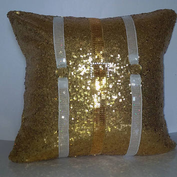 Gold Sequins All Over Luxury Pillow Cover