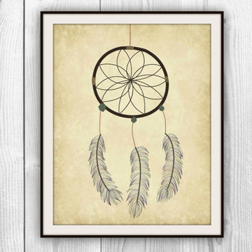 Dreamcatcher Art Print - Bedroom decor- Native American Tribal Illustration Symbol Dream Catcher