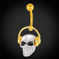 I LOVE Music Gothic Skull w/ Walkman Gold Plated Belly Ring