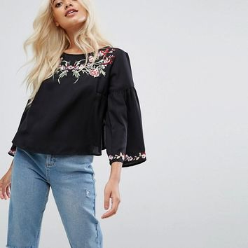 Miss Selfridge Petite Embroidered Flare Sleeve Top at asos.com