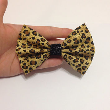Leopard Print Fabric Hair Bow with Black Glitter Accent on Alligator Clip - 4.5 Inch Wide
