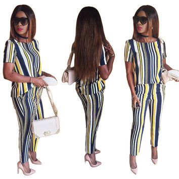 Vertical Stripes Print Summer Fashion Pants Set