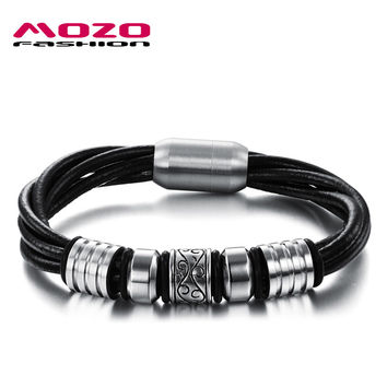MOZO FASHION Cool Men Jewelry Multilayer Twisted Leather Bracelets Male Vintage Stainless Steel Magnetic Buckle Bracelet MPH893