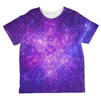 Sacred Geometry Metatron Cube Map of Creation All Over Toddler T Shirt