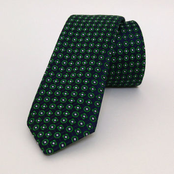 "Green and Dark blue Skinny Mens Tie 2.36"" (6 cm) Green and Dark blue spotted tie - Green spotted necktie - Dark Blue spotted cravat - DK634"