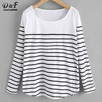Dotfashion Striped Loose Ladies Tee Shirt 2017 Black And White Round Neck Casual Women Top Autumn Long Sleeve T shirt