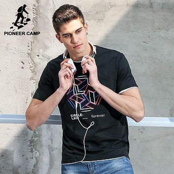 Pioneer Camp Fashion New Navy Wind Soft Thin Men T shirt Summer Style Printed Tee Men Cotton T shirt Fitness For Youth ADT701062