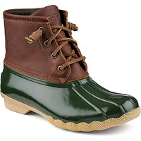 Women's Saltwater Duck Boot in Tan/Green by Sperry