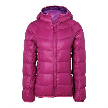 2016 New Ultra Light Down Jacket Hooded Winter Women Slim Long Sleeve Parka Zipper 11 Colors Coat Pockets Solid Plus Size ZS806