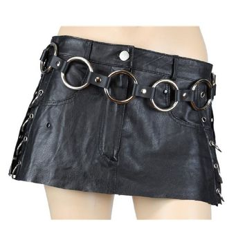 """1-3/4"""" Silver O Ring Link Leather Fashion Leather Belt"""