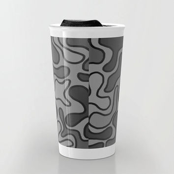 Black Abstract Travel Mug - Black and Gray - Coffee Travel Mug - Hot or Cold Travel Mug - 12oz Travel Mug - Made to Order