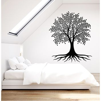 Vinyl Wall Decal Beautiful Tree Leaves Roots Nature Children Decor Stickers Mural (g819)