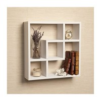 Geometric Square Wall Shelf with 5 Openings-White by Danya B
