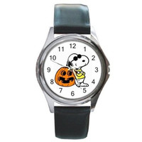 Halloween, Snoopy in a Mask and Jack O' Lantern on a Watch with Leather Band