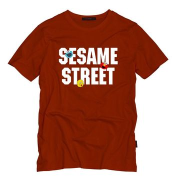 Sesame Street Adult T Shirt O-Neck Cotton Summer Mens T Shirts ELMO/BIG BIRD/COOKIE MONSTER Cartoon Print Tops T-Shirts Tees